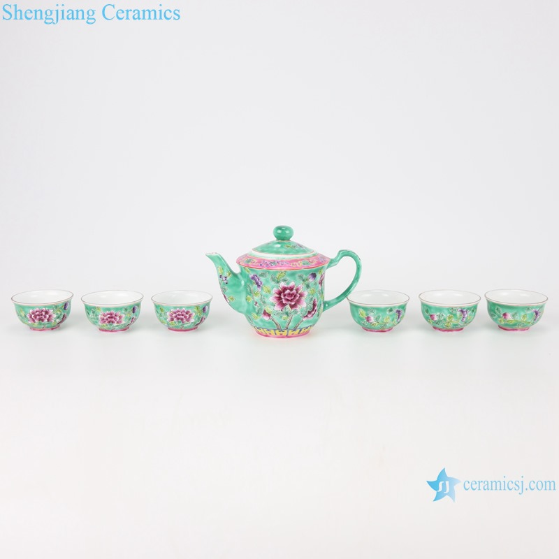 Chinese handmade powder enamel teapot and teacup sets RZFA16