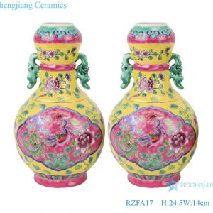 RZFA17 Chinese handmade powder enamel can with two ears