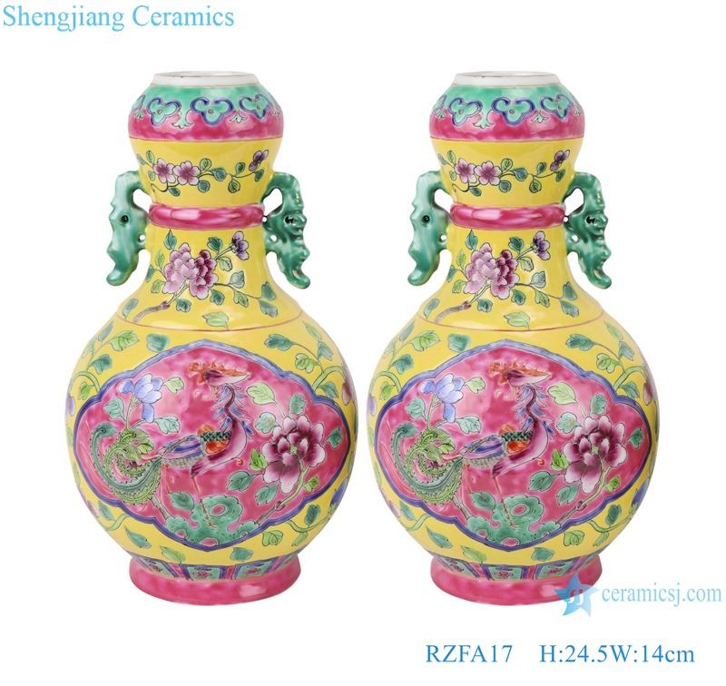 Chinese handmade powder enamel can with two ears RZFA17