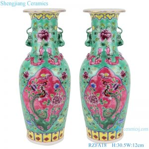 RZFA18 Chinese handmade two ears powder enamel jar green and pink color