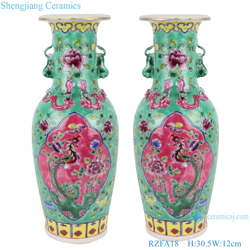 Chinese handmade porcelain two ears powder enamel jar green and pink color RZFA18