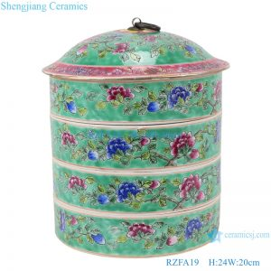 RZFA19 Chinese handmade ceramic powder enamel multi-layer rice container