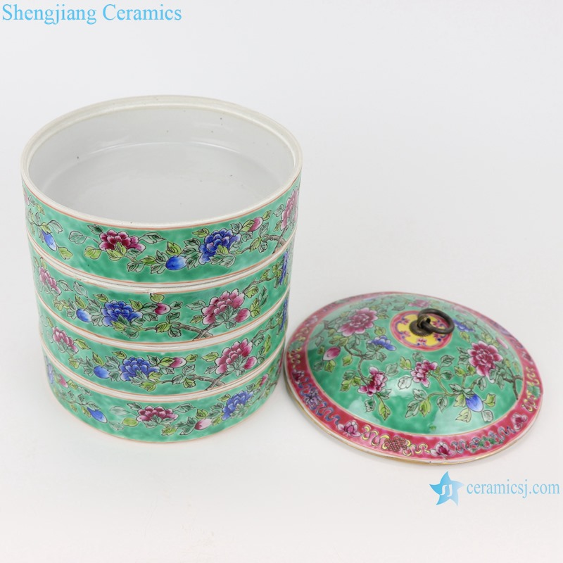 Chinese handmade porcelain powder enamel multi-layer rice container RZFA19