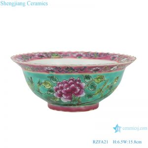 RZFA21 Chinese handmade ceramic powder enamel bowl