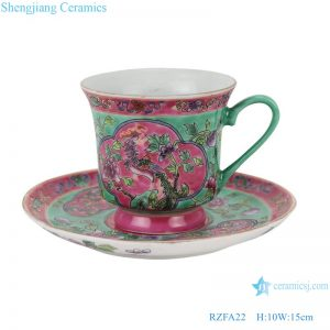 RZFA22 Chinese handmade powder enamel teapot and teacup