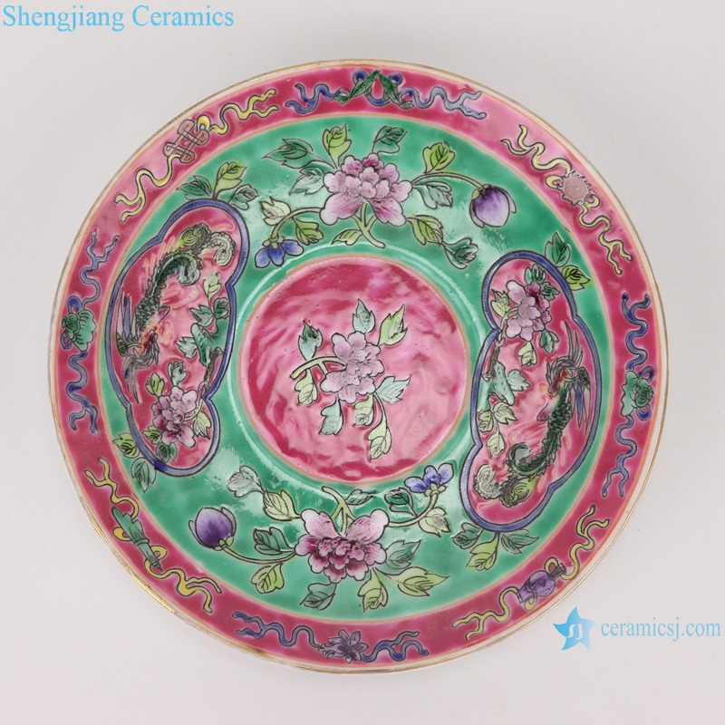 Chinese handmade powder enamel ceramic teapot and teacup RZFA22