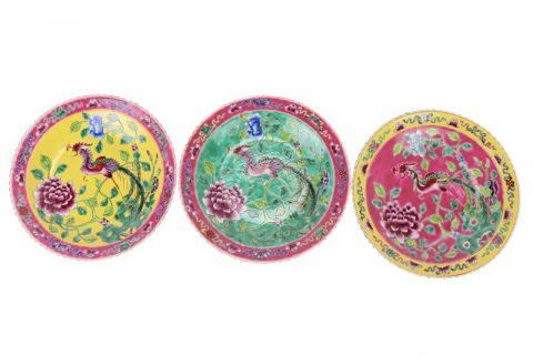 RZFA23-24-25 Chinese handmade powder enamel porcelain plate sets