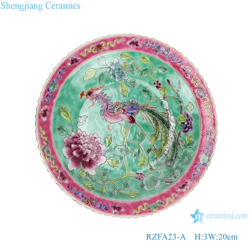 Chinese handmade ceramic powder enamel plate sets RZFA23-A