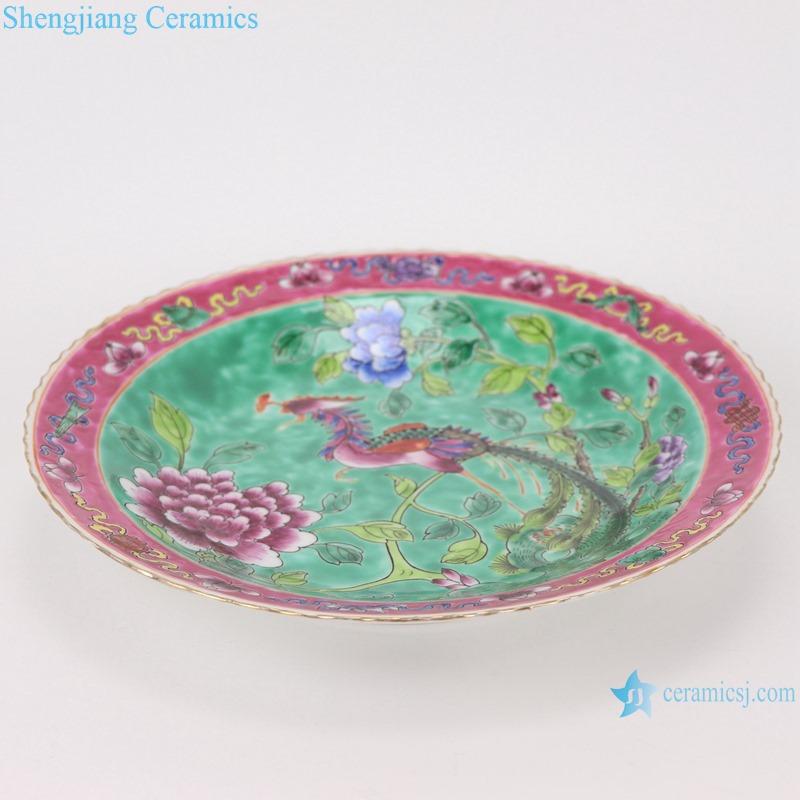 Chinese handmade powder enamel ceramic plate sets RZFA23