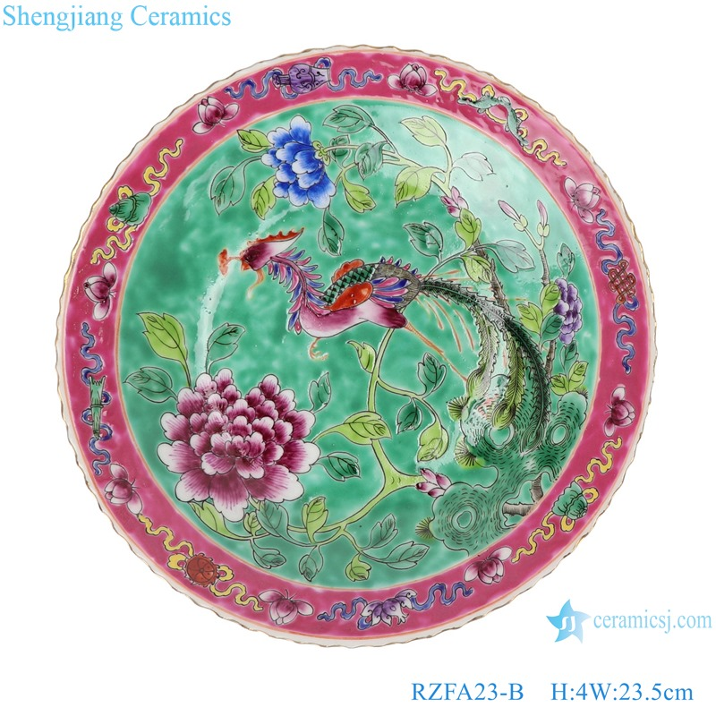 Chinese handmade ceramic powder enamel plate sets RZFA23-B
