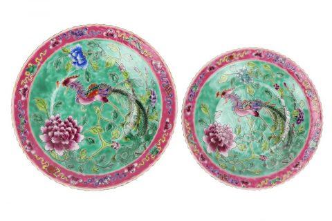 RZFA23 Chinese handmade powder enamel plate sets