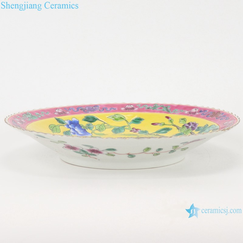 Chinese handmade powder enamel ceramic plate sets RZFA24