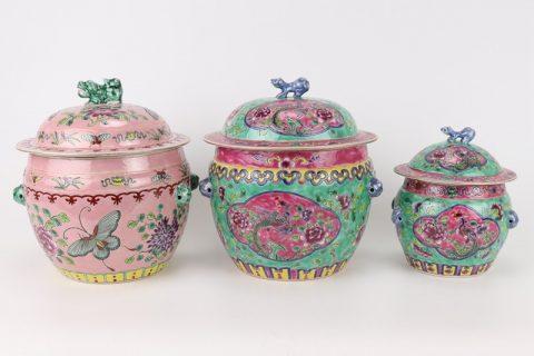 RZFA26-27 Chinese handmade powder enamel porcelain rice container set
