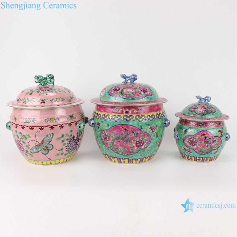 Chinese handmade powder enamel ceramic rice container set RZFA26-27