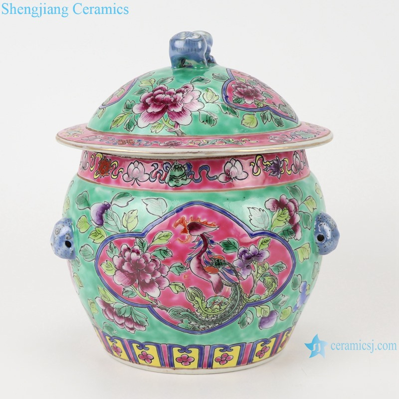 Chinese handmade powder enamel ceramic rice container set RZFA26-A