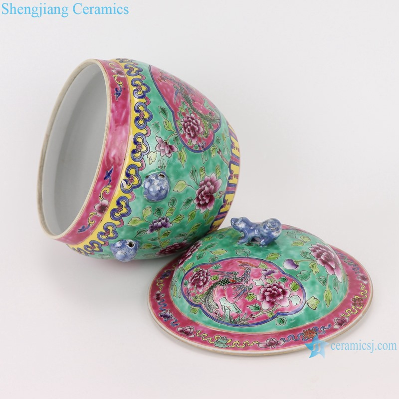 Chinese handmade powder enamel ceramic rice container set RZFA26-B