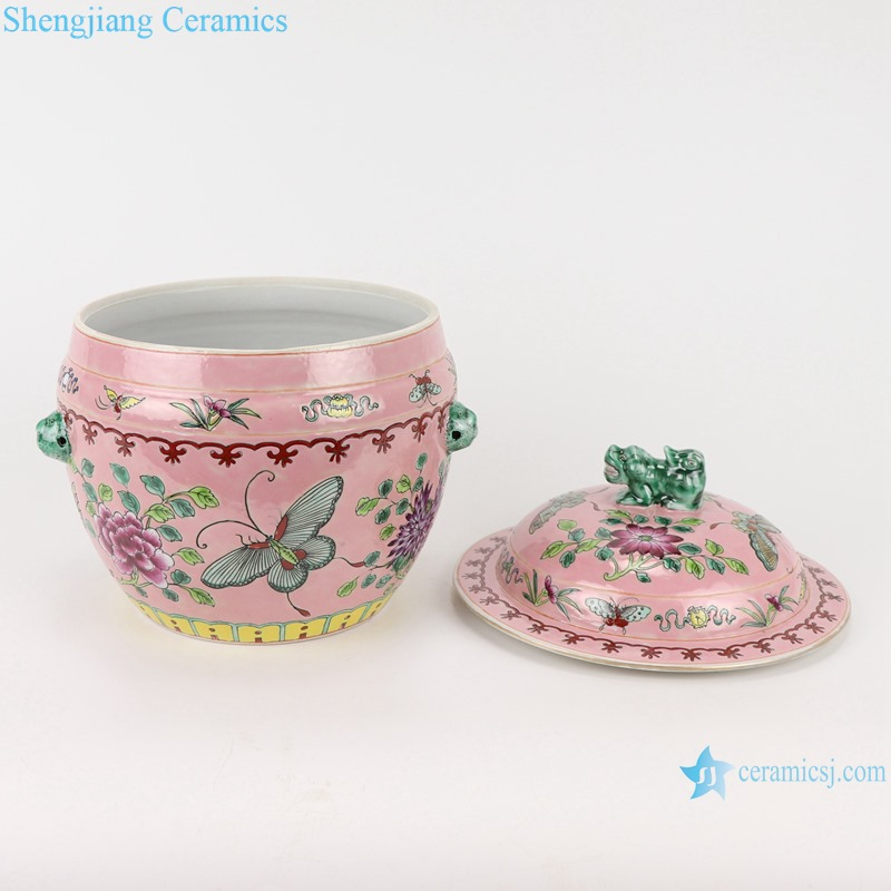 Chinese handmade powder enamel ceramic rice container set RZFA27