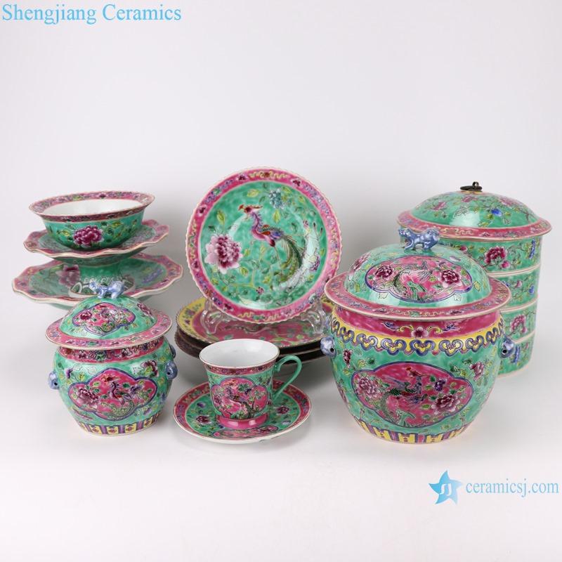 Chinese handmade porcelain powder enamel tableware sets RZFA