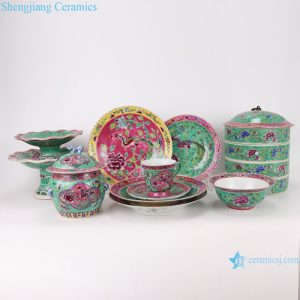 RZFA Chinese handmade powder enamel tableware sets