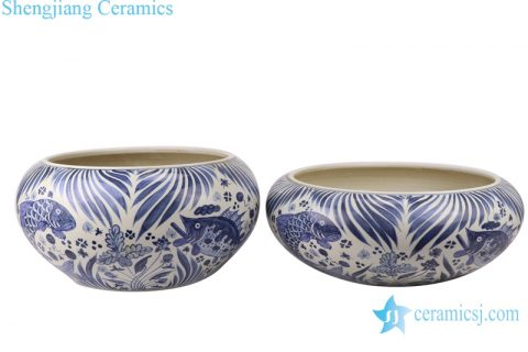 RZFH24-A-B Chinese handmade blue and white ceramic pot fish design