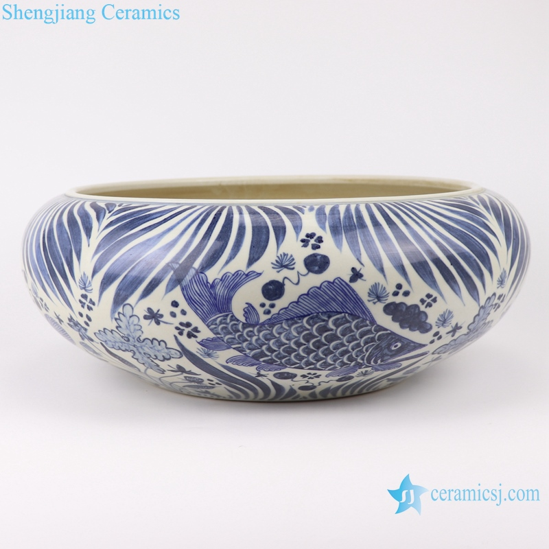 RZFH24-A Chinese handmade blue and white porcelain pot fish design