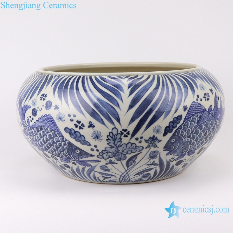 RZFH24-B Chinese handmade blue and white porcelain pot fish design