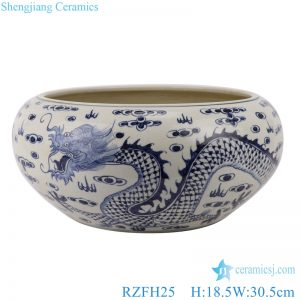 RZFH25 Chinese handmade blue and white ceramic pot dragon design