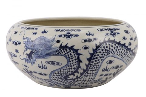 RZFH25 Chinese handmade blue and white ceramic pot dragon design