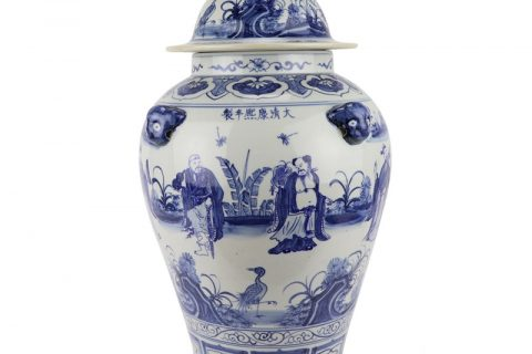 RZFH26 ancient blue and white character pattern -The Eight Immortals Crossing the Sea with 3D lion on the lid ginger gar