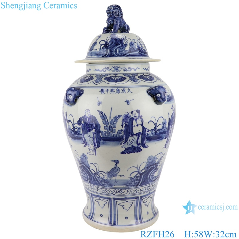 RZFH26 New arrival blue and white character pattern with 3D lion on the lid ginger gar