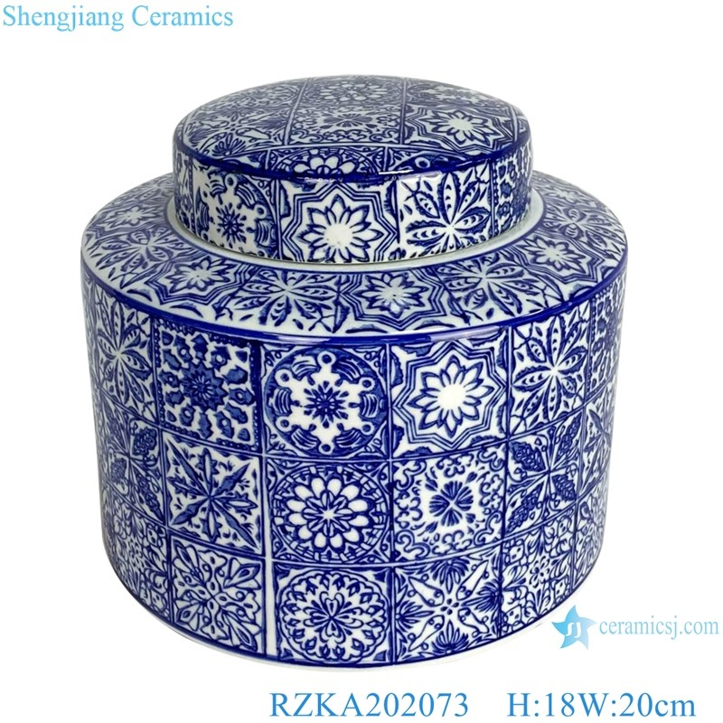 Straight tube blue and white square flower pattern pot