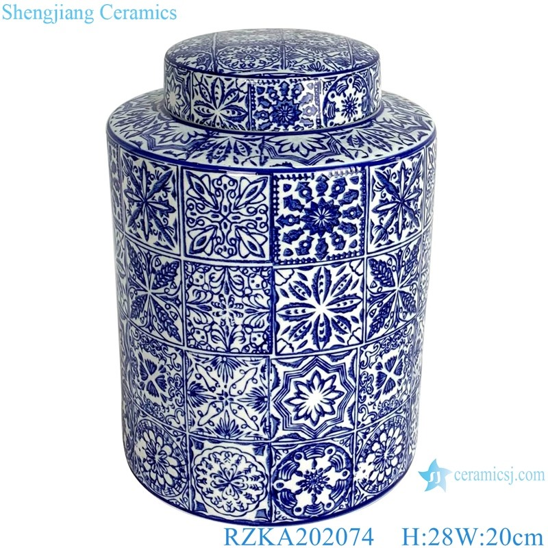 RZKA202074 traight blue and white medium round jar with lid