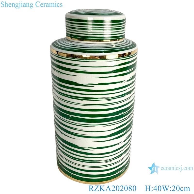 Straight tube green line gilt edged jar