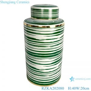 RZKA202080 Straight tube green line gilt edged jar