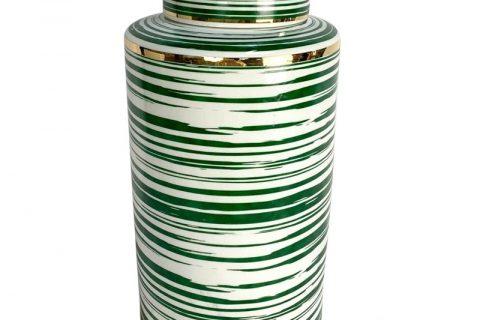 RZKA202080 Straight tube green line gilt edged jar