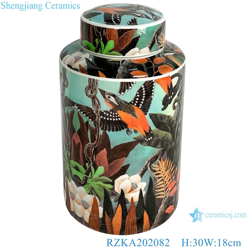 Straight tube flower and bird medium round jar