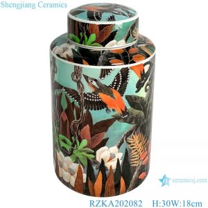 RZKA202082 Straight tube flower and bird medium round jar
