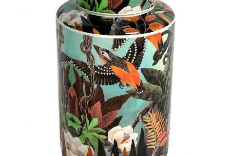 RZKA202082 Straight tube flower and bird medium round jar