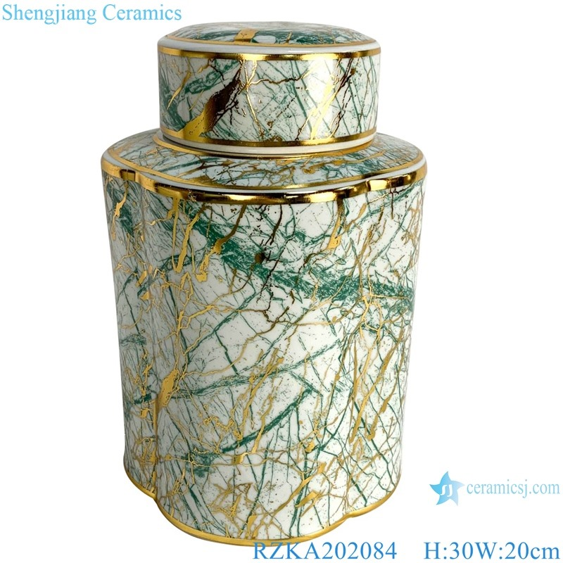 Round famille rose design jar with mixed gold and green lines