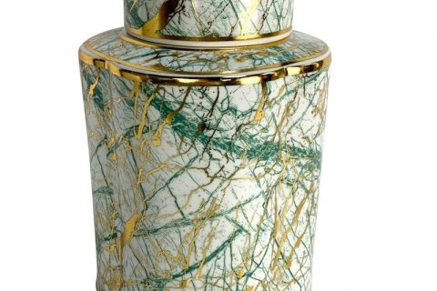 RZKA202084 Round famille rose design jar with mixed gold and green lines