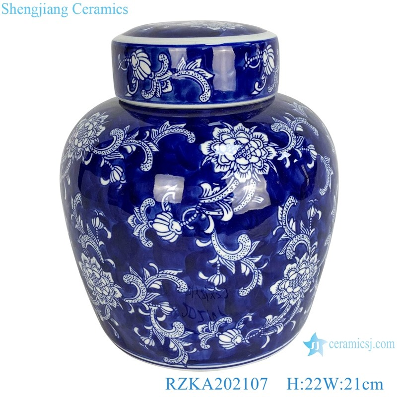 Blue and white flower pot with blue background