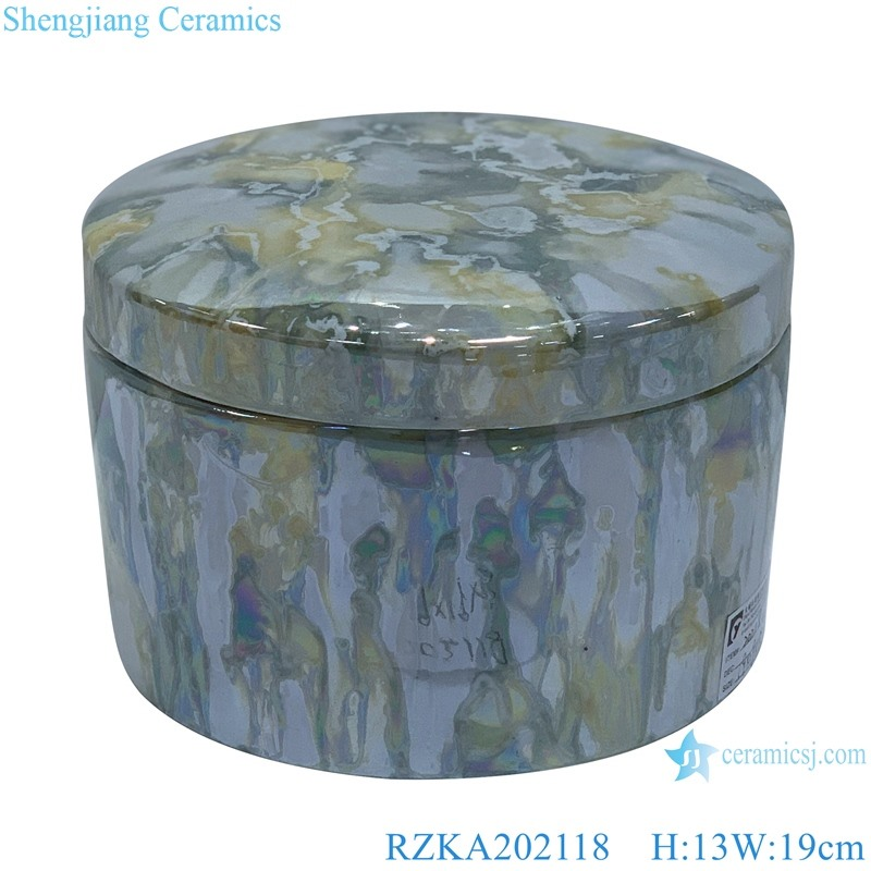 Straight tube electroplated shell texture jar jewelry box
