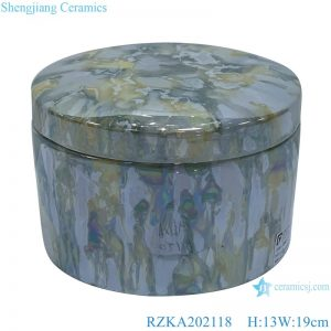 RZKA202118 Straight tube electroplated shell texture jar jewelry box