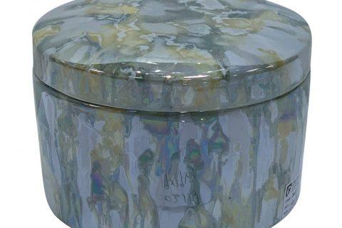 RZKA202118 Straight tube electroplated shell texture jar jewelry box