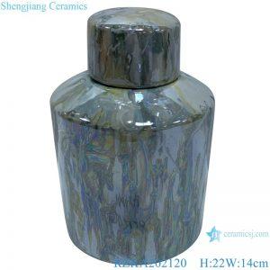 RZKA202120 Straight tube electroplated shell texture jar jewelry box