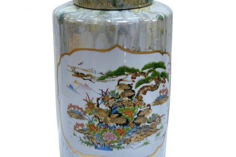 RZKA202135 Round jar with marble pattern, pine and crane