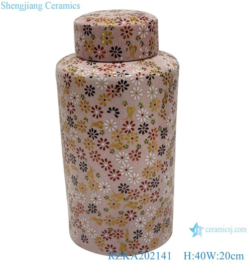 Pink flowers embellished tall ceramic l pots