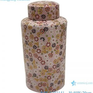RZKA202141 Pink flowers embellished tall ceramic l pots