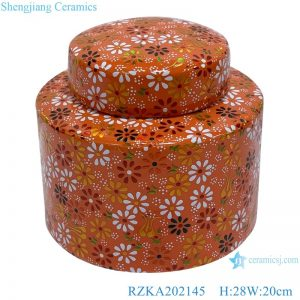 RZKA202145 Orange family rose flower medium ceramic pot