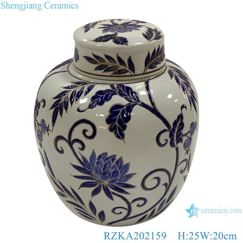 White family rose ceramic flower design jar